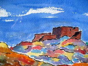 Painted land #1 ~ Watercolor by John Klobucher