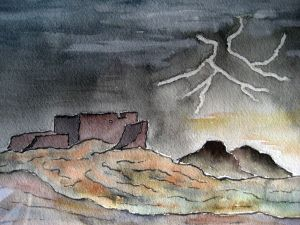 Lightning storm ~ Watercolor by John Klobucher