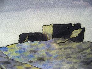Night ruins #2 ~ Watercolor by John Klobucher