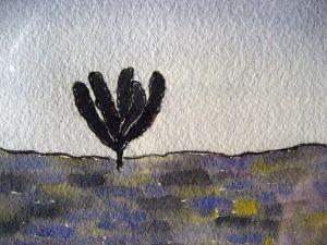 Black tree ~ Watercolor by John Klobucher