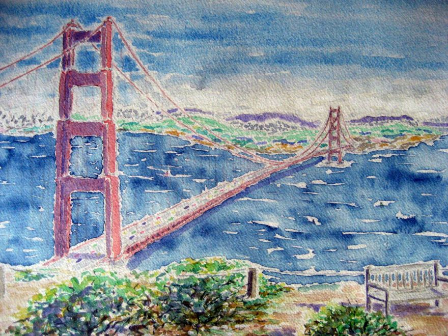 Golden gate ~ Watercolor by John Klobucher