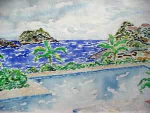 Mexican shores #1 ~ Watercolor by John Klobucher