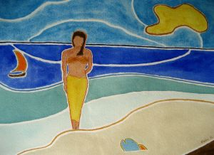 Tahitian lore ~ Watercolor by John Klobucher