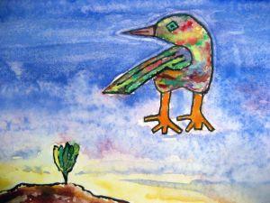 Bird of lore ~ Watercolor by John Klobucher