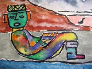 Chac-mool at rest ~ Watercolor by John Klobucher