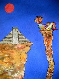 Temple of Chac-mool ~ Watercolor by John Klobucher