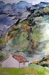 Lonesome cottage #1 ~ Watercolor by John Klobucher