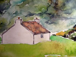 Lonesome cottage #2 ~ Watercolor by John Klobucher