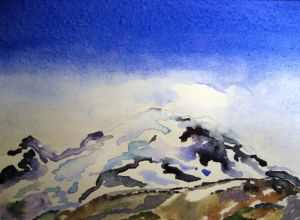 Attempting Rainier #3 ~ Watercolor by John Klobucher