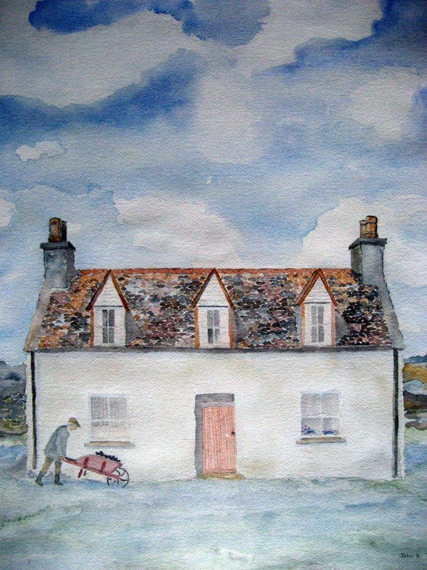 Cottage of Man #1 ~ Watercolor by John Klobucher