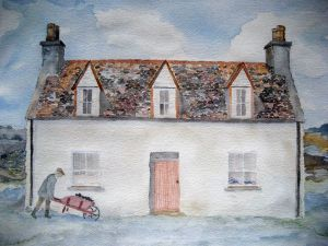 Cottage of Man #2 ~ Watercolor by John Klobucher