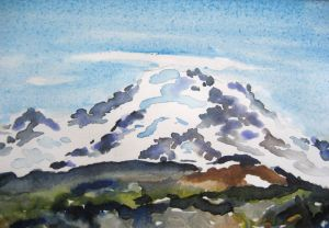 Attempting Rainier #2 ~ Watercolor by John Klobucher