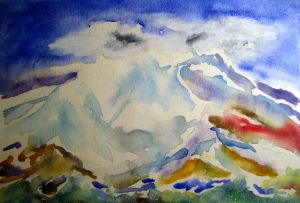 Attempting Rainier #1 ~ Watercolor by John Klobucher