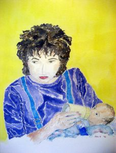 Mother and son #1 ~ Watercolor by John Klobucher