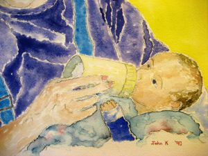 Mother and son #2 ~ Watercolor by John Klobucher