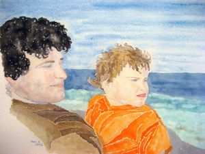Father and son #1 ~ Watercolor by John Klobucher