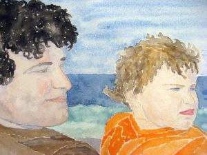 Father and son #2 ~ Watercolor by John Klobucher