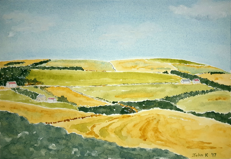 Farmland Lore #1 ~ Watercolor by John Klobucher