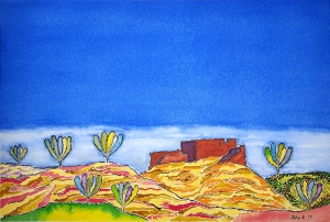 Pueblo Lore #1 ~ Watercolor by John Klobucher