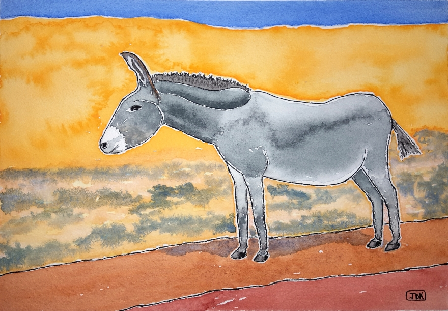 Burro Lore #1 ~ Watercolor by John Klobucher