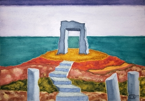 Door to the Lore #2 ~ Watercolor by John Klobucher
