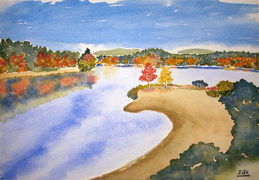 Autumn Shore Lore #1 ~ Watercolor by John Klobucher