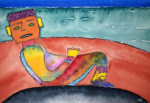 Chac-mool Lore #1 ~ Watercolor by John Klobucher