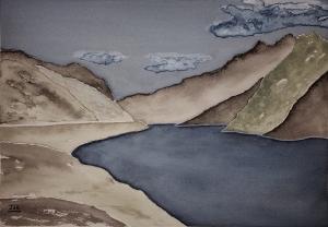 Gray Land Lore #1 ~ Watercolor by John Klobucher
