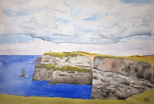 Cliffs of Moher Lore #1 ~ Watercolor by John Klobucher