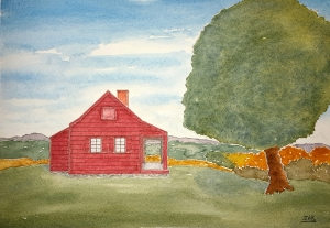 Saratoga Farmhouse Lore #1 ~ Watercolor by John Klobucher