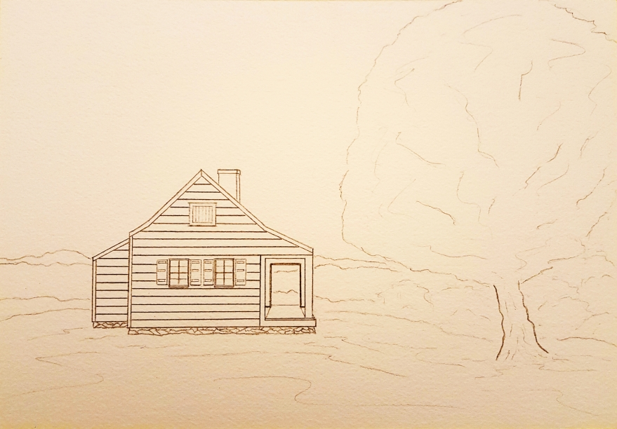 Saratoga Farmhouse Lore #1 ~ Sketch by John Klobucher
