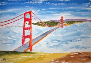 Golden Gate Lore #1 ~ Watercolor by John Klobucher
