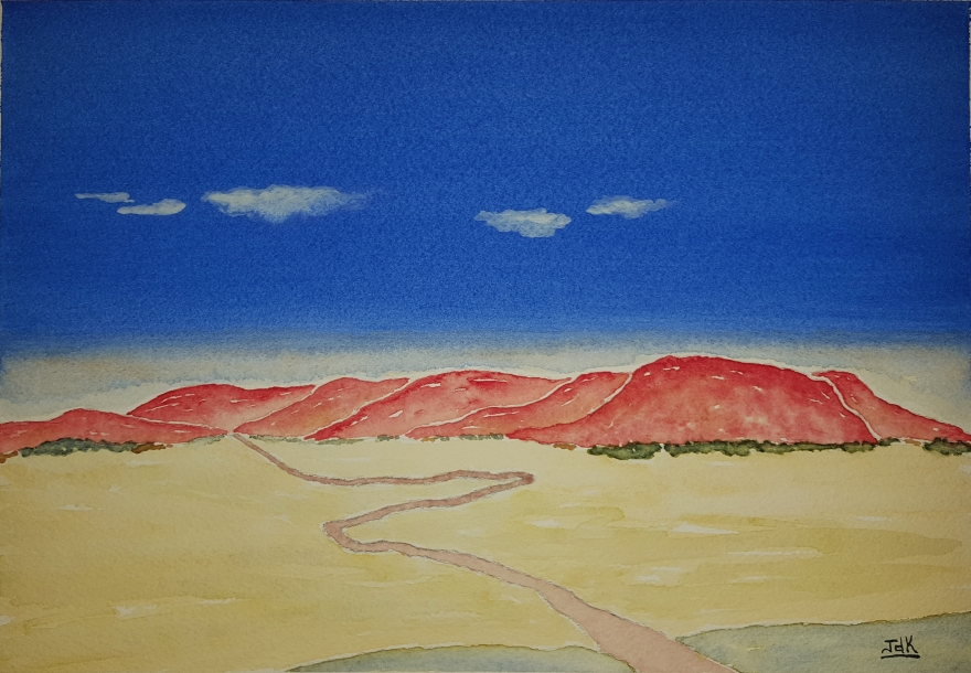 Red Range Lore #1 ~ Watercolor by John Klobucher