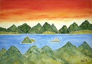 Hidden Islands Lore #1 ~ Watercolor by John Klobucher