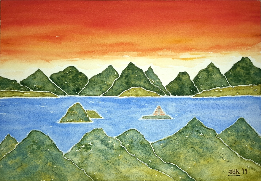 Hidden Islands Lore #1 ~ Watercolor by John Klobucher