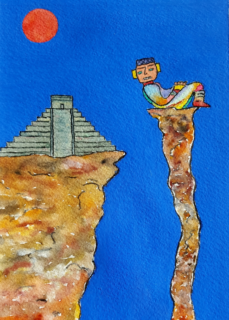 Mayan Sun Lore #1 ~ Watercolor by John Klobucher