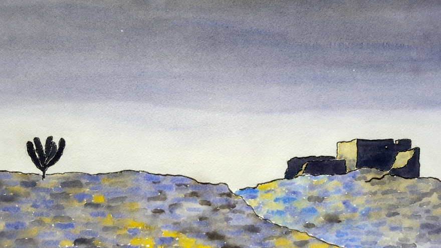 Desert Shadows Lore #1 ~ Watercolor by John Klobucher