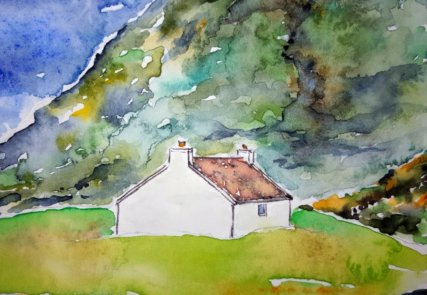 Scottish Croft Lore #1 ~ Watercolor by John Klobucher
