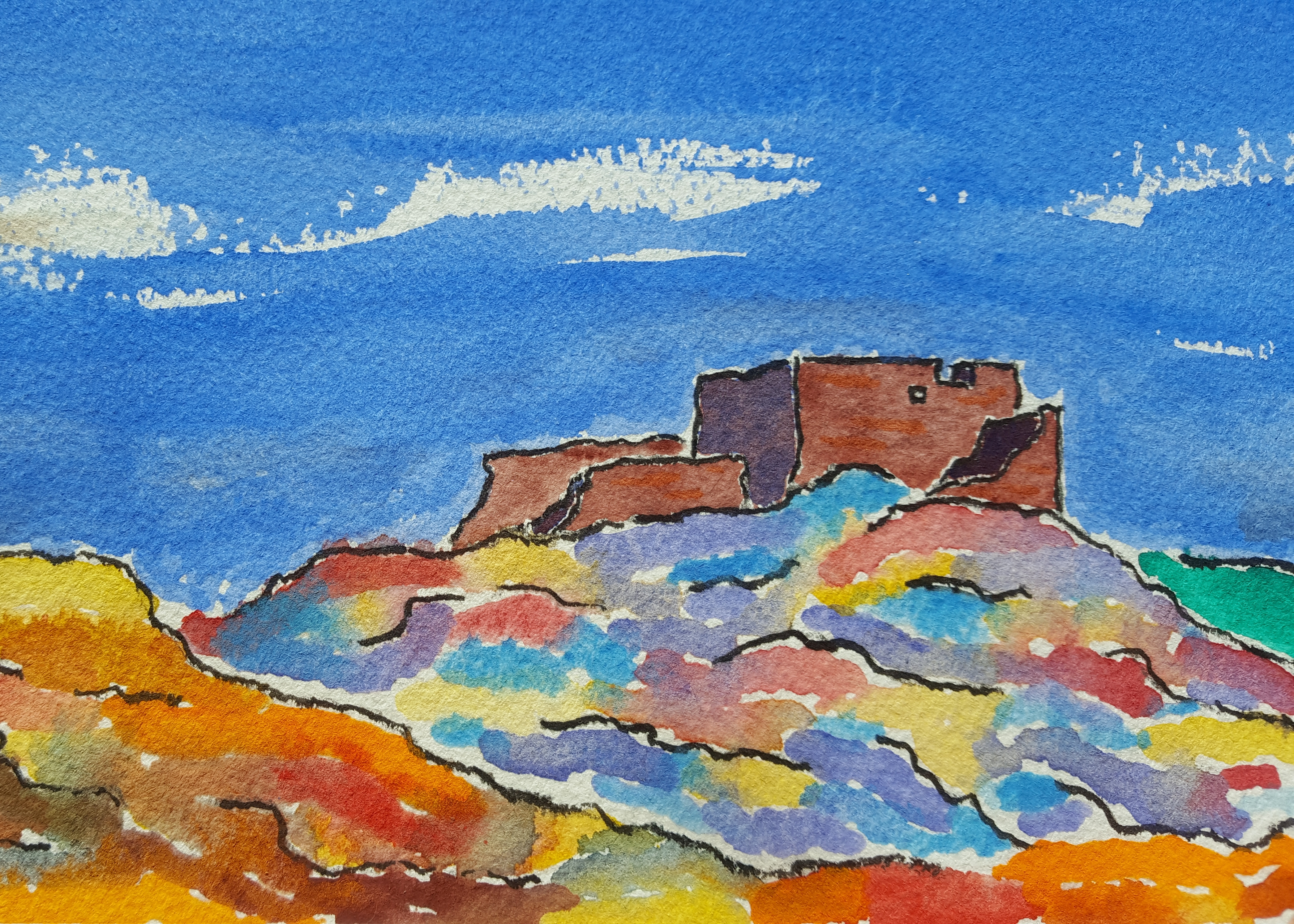 Wupatki Pueblo Lore #1 ~ Watercolor by John Klobucher