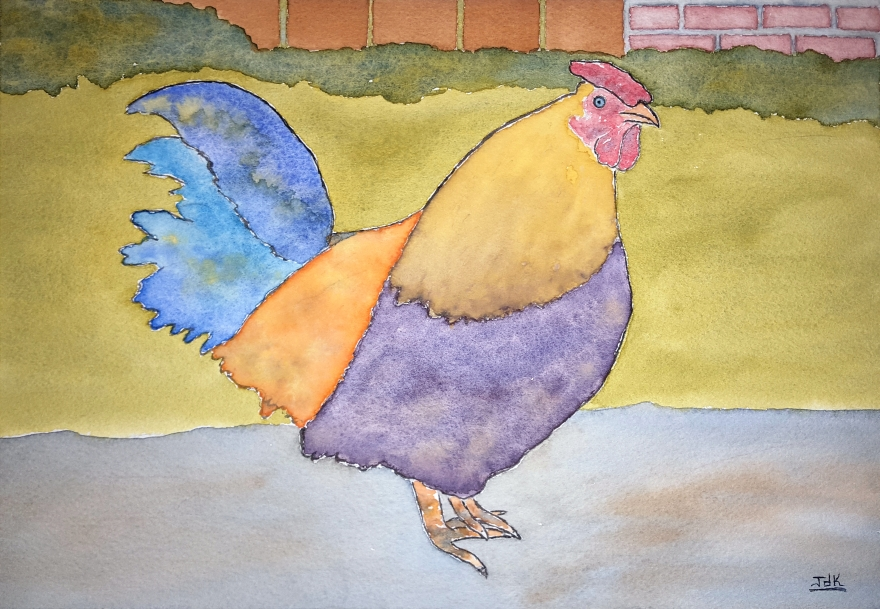 Hen of Lore #1 ~ Watercolor by John Klobucher