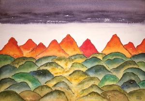 Planetscape Gamma #1 ~ Watercolor by John Klobucher