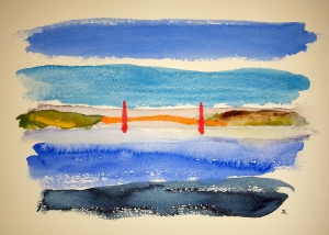 Golden Gate Morning #1 ~ Watercolor by John Klobucher