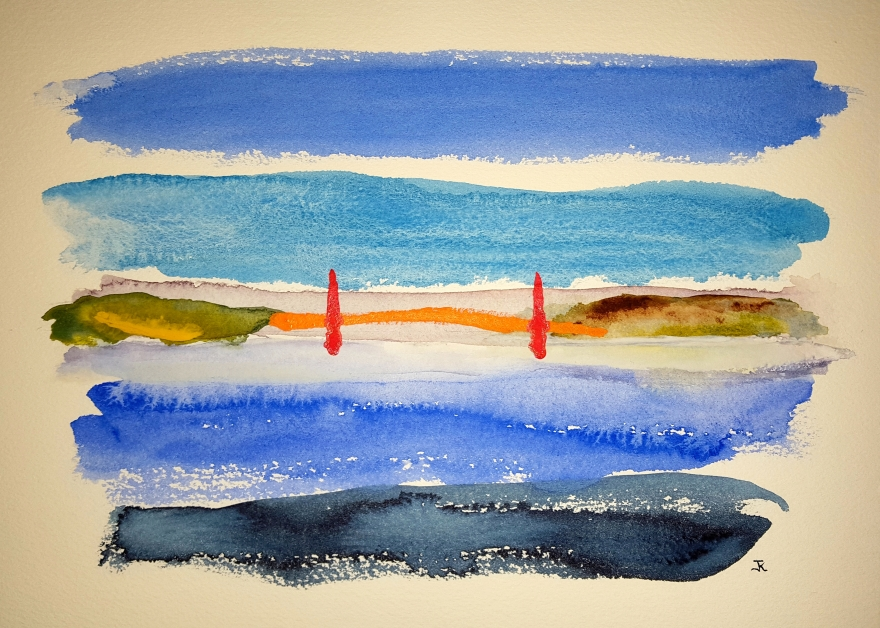 Golden Gate Morning #1 ~ Watercolor by John Klobucher