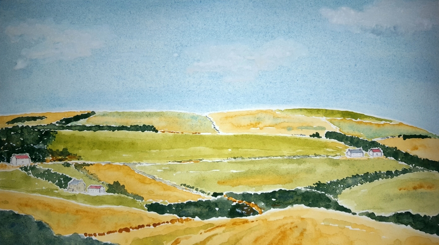 Ayrshire Farms ~ Watercolor by John Klobucher