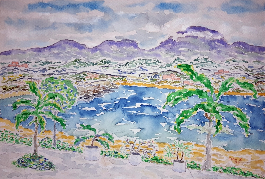 Bahía de Tangolunda ~ Watercolor by John Klobucher