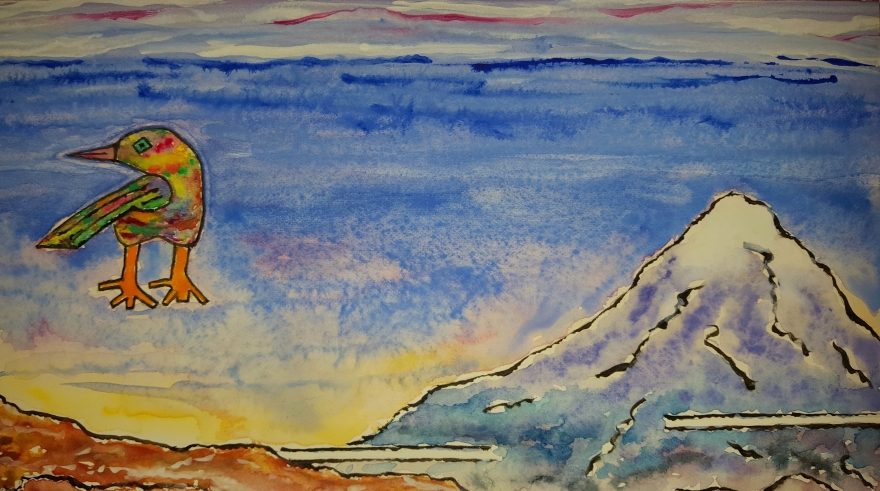 Bird and Mountain ~ Watercolor by John Klobucher