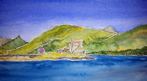 Castle Eilean Donan ~ Watercolor by John Klobucher