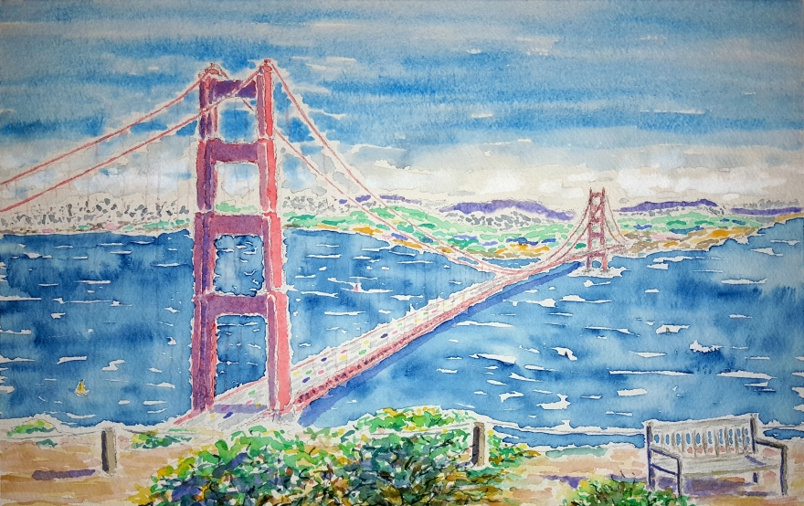Golden Gate Vista ~ Watercolor by John Klobucher