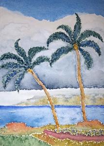 Maui Palms ~ Watercolor by John Klobucher