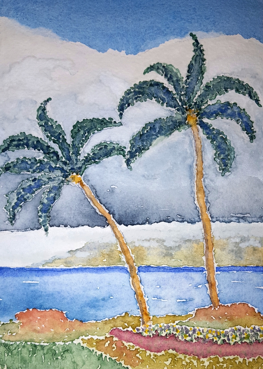 Maui Palms ~ Watercolor by John Klobucher